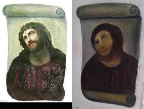 フレスコ画の修復失敗