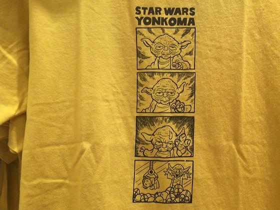 スターウォーズのヨーダの4コマまんがTシャツ