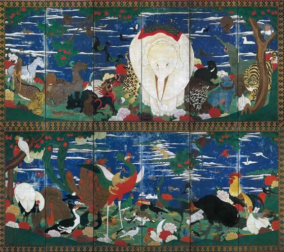 伊藤若冲の鳥獣花木図屏風の画像