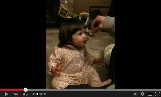 グレープフルーツを食べてずっこける赤ちゃんがかわいい
